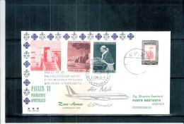 FDC Jordanie - Visite Du Pape Paul VI En Terre Sainte - Air Mail Roma-Amman (à Voir) - Jordanie