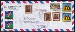 Venezuela: Registered Airmail Cover To Germany, 1973, 8 Stamps, Snake, Children, Valera, Bolivar (traces Of Use) - Venezuela