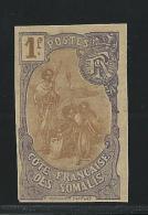 1909 - COTE DES SOMALIS - YVERT N°80 ESSAI PAPIER NON DENTELE (SANS GOMME) - Côte Française Des Somalis (1894-1967)