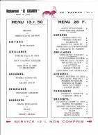 Ancien Menu Du Restaurant Le Cocardy A Payrac Dans Le Lot Chez Le Turc - Menus