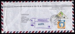 Venezuela: Registered Airmail Cover To Germany, 1974, 2 Stamps, Triangle Shaped, Congress Of Engineers (damaged) - Venezuela