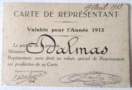 CARTE DE REPRESENTANT 1913 - Sonstige