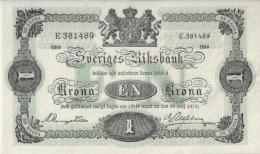* SWEDEN 1 KORONA 1914 P-32a AU/UNC  [ SE32a ] - Sweden