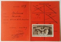 CARTE D ADHERENT UNION DE LA PROPRIETE BATIE DE FRANCE CHAMBRE SYNDICALE ARRONDISSEMENT ROCHEFORT SUR MER - Karten