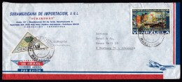 Venezuela: Airmail Cover To Germany, 1974, 2 Stamps, Triangle Shaped, Sea Battle, Navy Ship, Military (roughly Opened) - Venezuela