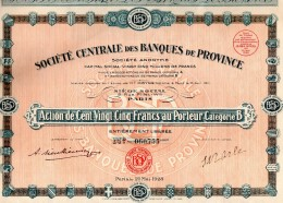 Action De 125 Francs Sté  Centrale Des Banques De Province- 1928 - 29 Coupons -N° 060755 - Banque & Assurance