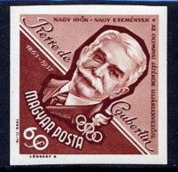 HUNGARY 1963 Coubertin Centenary Imperforate  MNH / **.  Michel 1953B - Hungary