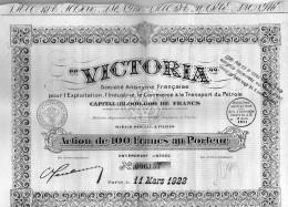 Action De 100 Francs -Victoria SA Pour L'Exploitation,l'Industie, Le Commece &le Transport Du Pétrole 1922 -27 Coupons - Pétrole