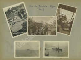 (Bateau) Alger 1917. Sur Le Dupleix. 10 Photos Sur Une Page D'album. Canon. - Bateaux