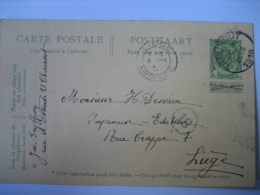 Entier Postal Armoiries THOUROUT 1910 Naar LIEGE - Signé Joséphine GRYFFROY à THOUROUT - Postkaarten [1871-09]