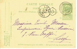 Entier Postal Armoiries BLEYBERG (MONTZEN) 1906 Vers LIEGE - Signé  M. PAQUOT à BLEYBERG - Ganzsachen