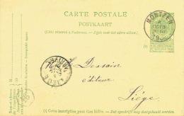 Entier Postal Armoiries MONTZEN 1908 Vers LIEGE - Signé  C. SCHARRENBROICK Institutrice En Chef à MONTZEN - Ganzsachen