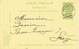 Entier Postal Armoiries FLEMALLE  1909 Vers LIEGE - Signé FAHY Soeurs à CHOKIER - Entiers Postaux