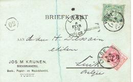 Taxe De 10c Op Briefkaart JOS. M KRIJNEN Boekdrukkerij Te VUGHT (HOLLAND) Obliteratie VUGHT 5/02/1902 Naar LIEGE - Strafportzegels