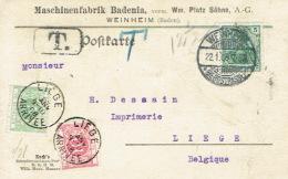 Taxe De 10c  + 5c Sur Carte Publicitaire Mashinenfabriek BADENIA WEINHEIM Oblit. WEINHEIM 22/01/1908 Vers LIEGE - Postage Due