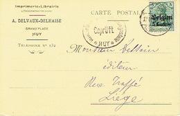 CP Publicitaire Germania HUY 1915 - Censure HUY - Entête A. DELVAUX-DELHAISE Imprimerie-librairie à HUY - Hoei