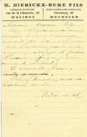 PK Publicitaire Germania MECHELN 1916-censure MECHELN - H. DIERICKX-BEKE FILS Boekhandelaars-uitgevers MECHELEN - Malines