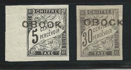 OBOCK -  TAXE YVERT N° 9 + 13 * - COTE = 54 EURO - Unused Stamps