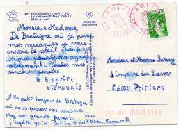 Cachet Manuel à Encre Rouge-FOUGERES  An 1 Du 3-8-1981  Sur Tp Sabine Sur Carte Postale De Fougères-35--pas Très Courant - Marcophilie (Lettres)
