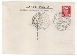 Entier-Carte Postale Gandon 3F50 N°401--cachet Jubilé Fédéral-Congrès Philatélique-NIORT-79--verso DONJON Signé Gandon - Entiers Postaux