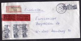 Germany: Registered Express Cover, 1991, Mix Of West German Stamps And East German R-label Sonnewalde (minor Damage) - [7] West-Duitsland