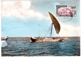 Zanzibar Carte Maximum Card 1963 Bateau Voilier Dhow Boutre Boat Mer Rouge Golfe Persique Red Sea - Zanzibar (1963-1968)