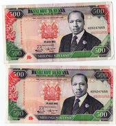 2 Banconote Kenya 500 Shilling Serie AD  Del 1992 Central Bank Shilingi Mia Tano - Kenia