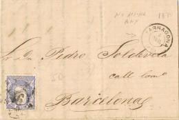 19044. Carta Entera TARRAGONA 1870. Fechador Palo Recto Y Año Mudo. Carreta - Cartas