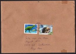 France: Cover To Netherlands, 2016, 2 Stamps, Dinosaur & Skeleton, Hedgehog Animal (traces Of Use) - France