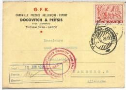GRECIA 1939 TARJETA A ALEMANIA THESSALONIKI CON CENSURA EN COLOR ROJO - Storia Postale