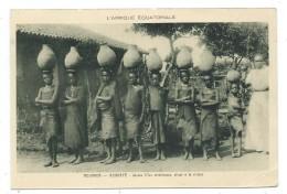 CPA - ROUANDA, KABGAYE, JEUNES FILLES CHRETIENNES ALLANT A LA RIVIERE - Circulé 1944 - Animée - Rwanda