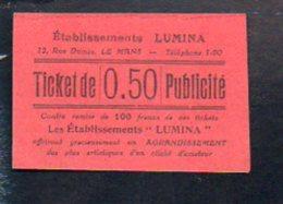 """Ticket Publicité Photographie De 0.50 Contre Remise De 100 Francs De Ces Tckets / Les Etablissements """"LUMINA"""" Le Mans - Bonds & Basic Needs"""