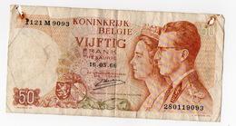 1 Banconota Belgio 50 Franchi Francs 16 Maggio 1966 Vijftig Serie 28 Royaume Belgique - [ 2] 1831-... : Regno Del Belgio