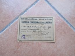 1946 TESSERA CGIL Camera Confederale Del Lavoro Di Napoli + Bollini Mensili - Materiale E Accessori