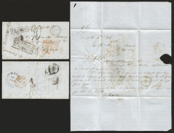 J) 1855 MEXICO, MARITIME MAIL, FRESNILLO AND FRANCO BLACK BOXES, 4 REALS AT THE BACK, CIRCULATED COMPLETE LETTER TO BAYO - Mexico