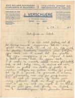 Publicité. Papier à Lettre. Horlogerie & Bijouterie. Verschuere. Gand/Gent 1931. - Bélgica