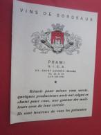 VINTAGE 1968 Dépliant Publicitaire Publicité Vin De Bordeaux Rouge-Blanc-Tarif-Bon De Commande-PRAMI Saint-Loubés Gde - Publicités