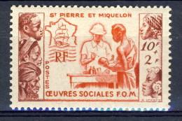 S. Pierre Et Miquelon 1950 N. 344 Fr. 10+2 Pro Opere Sociali MNH Catalogo € 16 - Nuovi