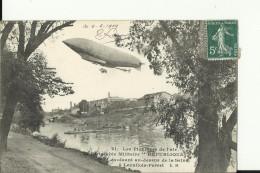 AV50   --  DIRIGEABLE,   MILITAIRE  ,, REPUBLIQUE EVOLUANT AU - DESSUS DE LA SEINE A  LEVALLOIS - PERRET  --  1909 - Levallois Perret