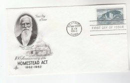 1962 Art Craft USA FDC HOMESTEAD Stamps Cover Daniel Freeman BEATRICE Nabr - First Day Covers (FDCs)