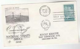 1958 Art Craft USA FDC MACKINAC BRIDGE Stamps Cover With MACKINAC BRIDGE Pmk Map - Bridges