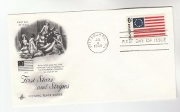 1968 Art Craft USA FDC FIRST  STARS & STRIPES FLAG Stamps Cover Pittsburgh Illus Betsy Ross, Sewing - First Day Covers (FDCs)