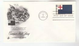 1968 Art Craft USA FDC BUNKER HILL FLAG  Stamps Cover Pittsburgh Illus Battle,  Gun - First Day Covers (FDCs)