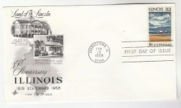 1968 Art Craft USA FDC ILLINOIS  Stamps Cover SHAWNEETOWN Illus Bryant Cottage Abraham Lincoln Debate - First Day Covers (FDCs)