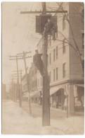 Telephone Line Repair Men, Installation Unknown City Street Scene, Men At Work, C1900s/10s Vintage Real Photo Postcard - Mestieri