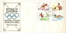 ZAMBIA - 1980 - Olympic Games Moscow - FDC - Zambia (1965-...)