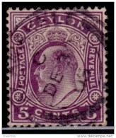 Ceylon 1908, Edward VII, 5c, Scott# 197, Used - Ceylon (...-1947)