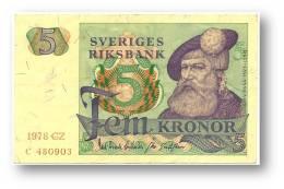 SWEDEN - 5 KRONOR - 1978 - P 51.d - Serie CZ - 2 Scans - Suède