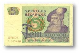 SWEDEN - 5 KRONOR - 1978 - P 51.d - Serie DZ - 2 Scans - Suecia