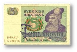 SWEDEN - 5 KRONOR - 1979 - P 51.d - Serie AU - 2 Scans - Suecia